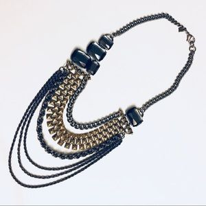 Multi strand layer mix metals statement necklace